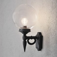 Konstsmide Wall Lights Black with Clear Bola Glass Shade