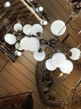 Modern Chrome and White Globe Ceiling Pendant Light
